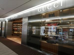 成田空港第二ターミナル。ナリタ5番街ブランド店。GUCCI(グッチ)