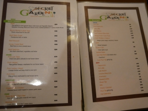 Seacret garden(シークレットガーデン)バギオで一番美味しいイタリアンレストランのメニューの画像