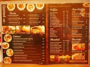フィリピン(バギオ)の最強カフェQuoted Cafeのメニューの画像